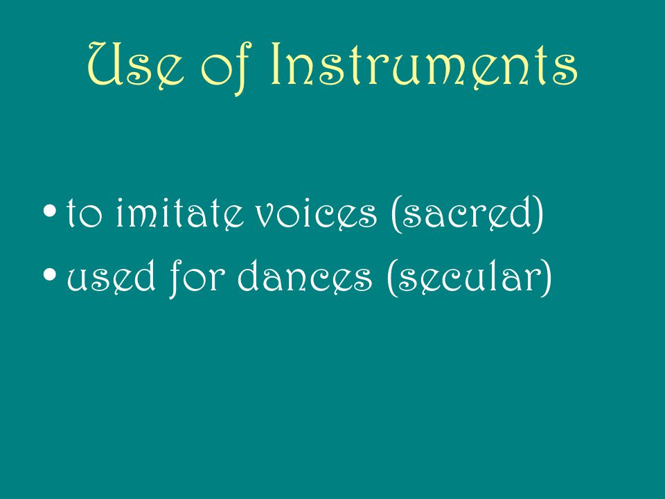 Use of Instruments to imitate voices (sacred)