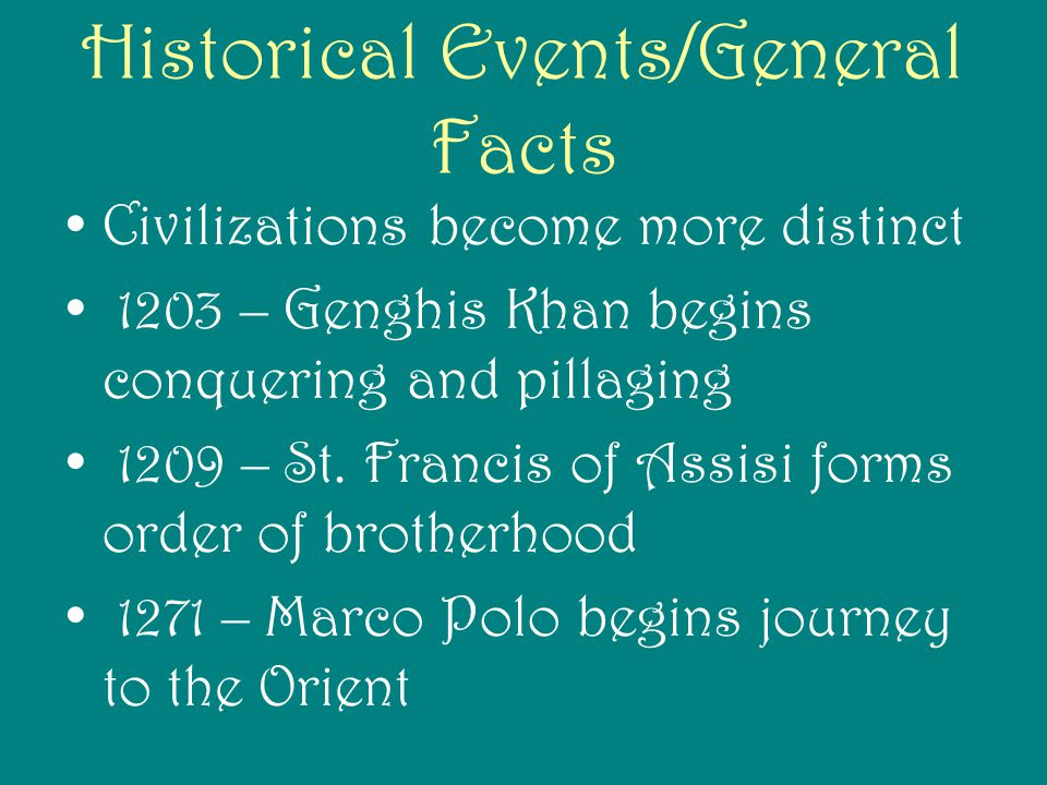 Historical Events/General Facts