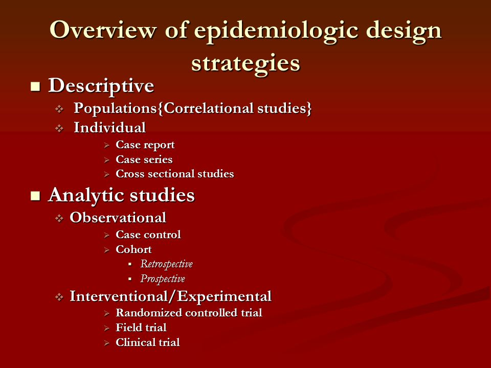Overview of epidemiologic design strategies