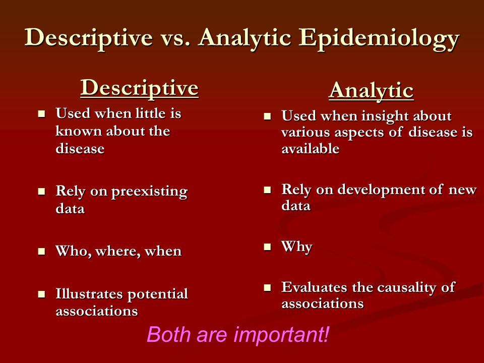 Descriptive vs. Analytic Epidemiology