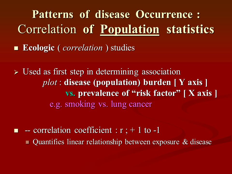 Patterns of disease Occurrence : Correlation of Population statistics