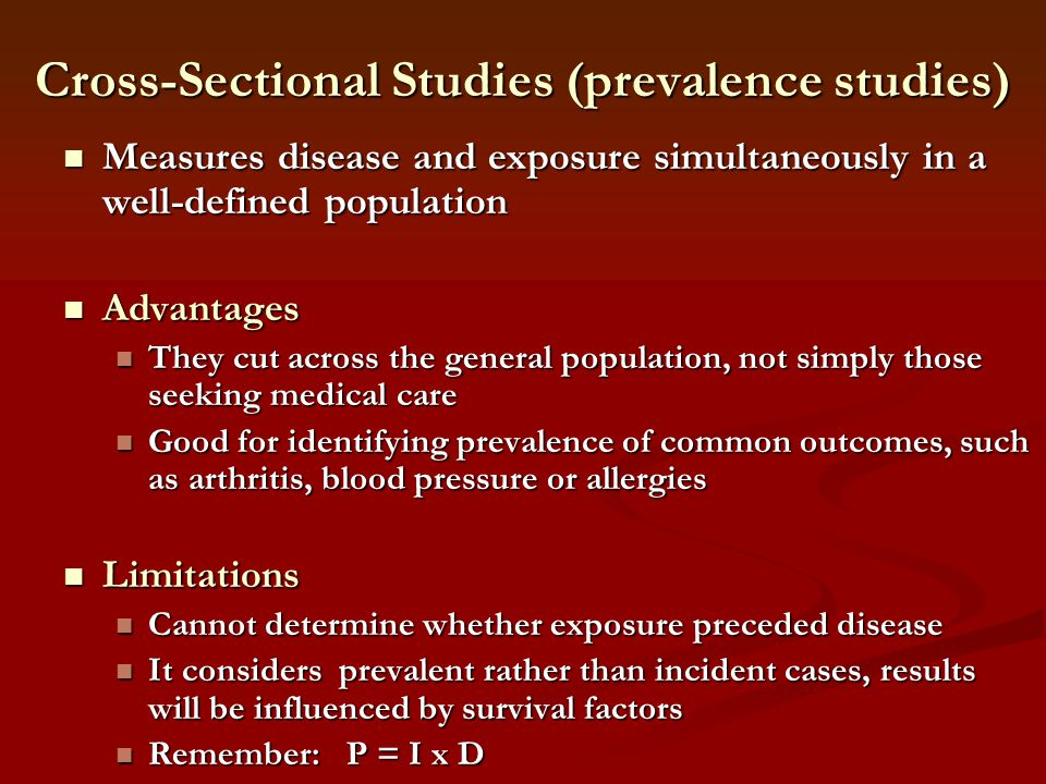 Cross-Sectional Studies (prevalence studies)