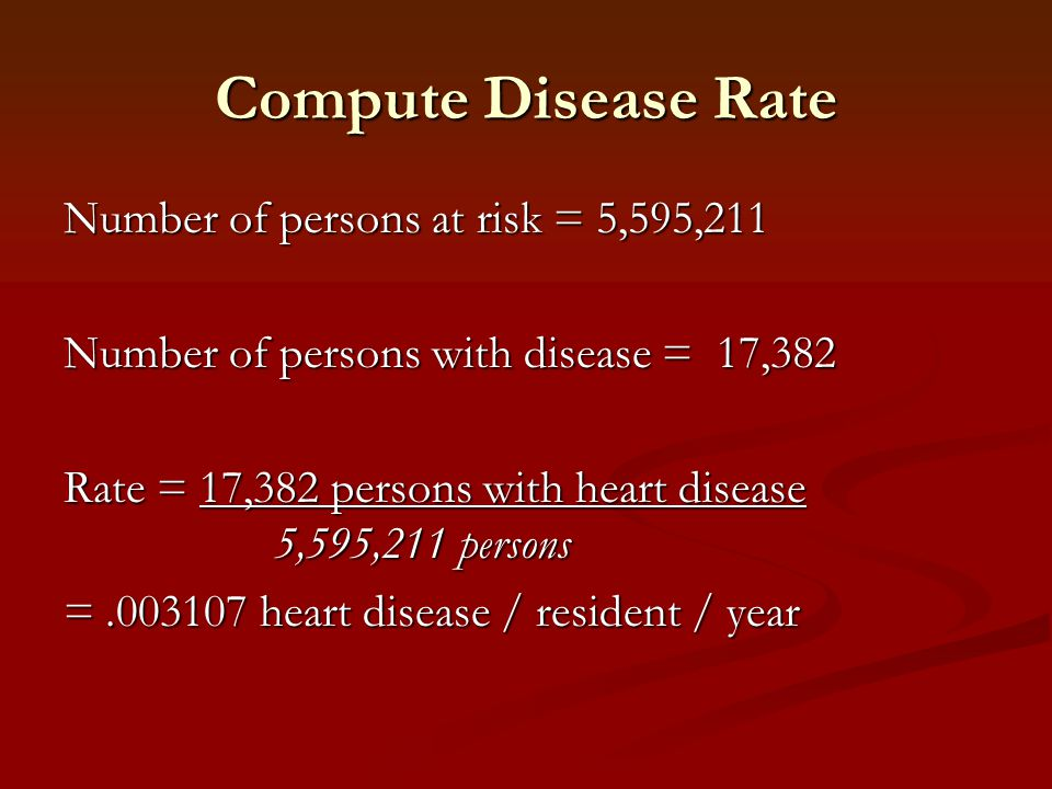 Compute Disease Rate Number of persons at risk = 5,595,211