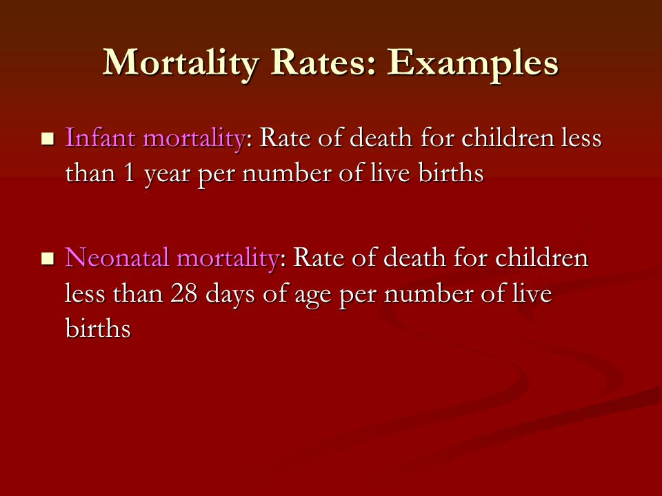 Mortality Rates: Examples