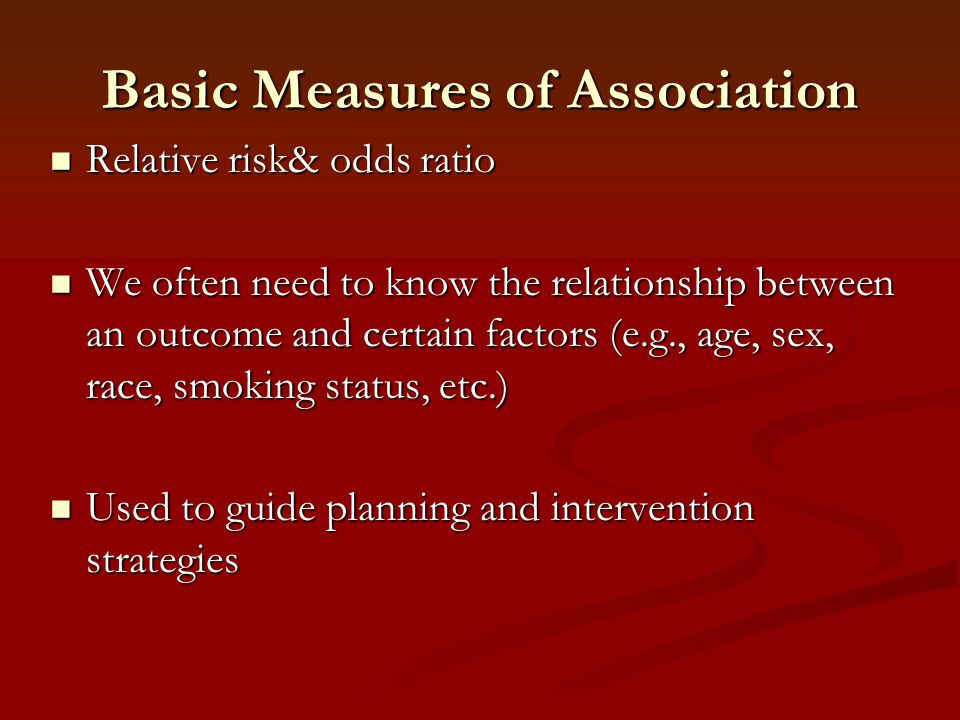 Basic Measures of Association