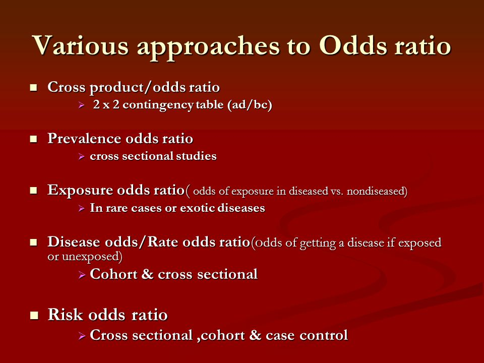 Various approaches to Odds ratio