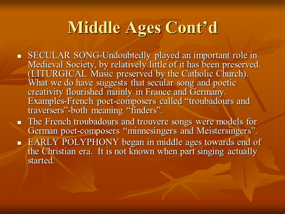 Middle Ages Cont'd