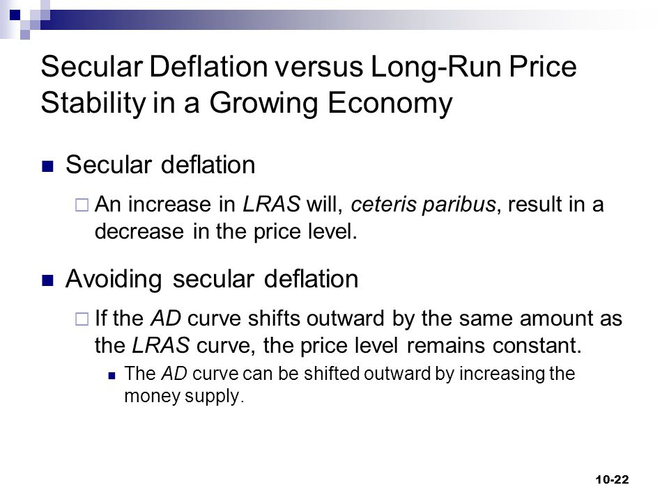 Secular Deflation versus Long-Run Price Stability in a Growing Economy