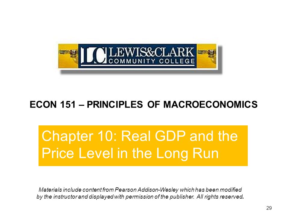 End of Chapter 10 ECON 151 – PRINCIPLES OF MACROECONOMICS. Chapter 10: Real GDP and the Price Level in the Long Run.