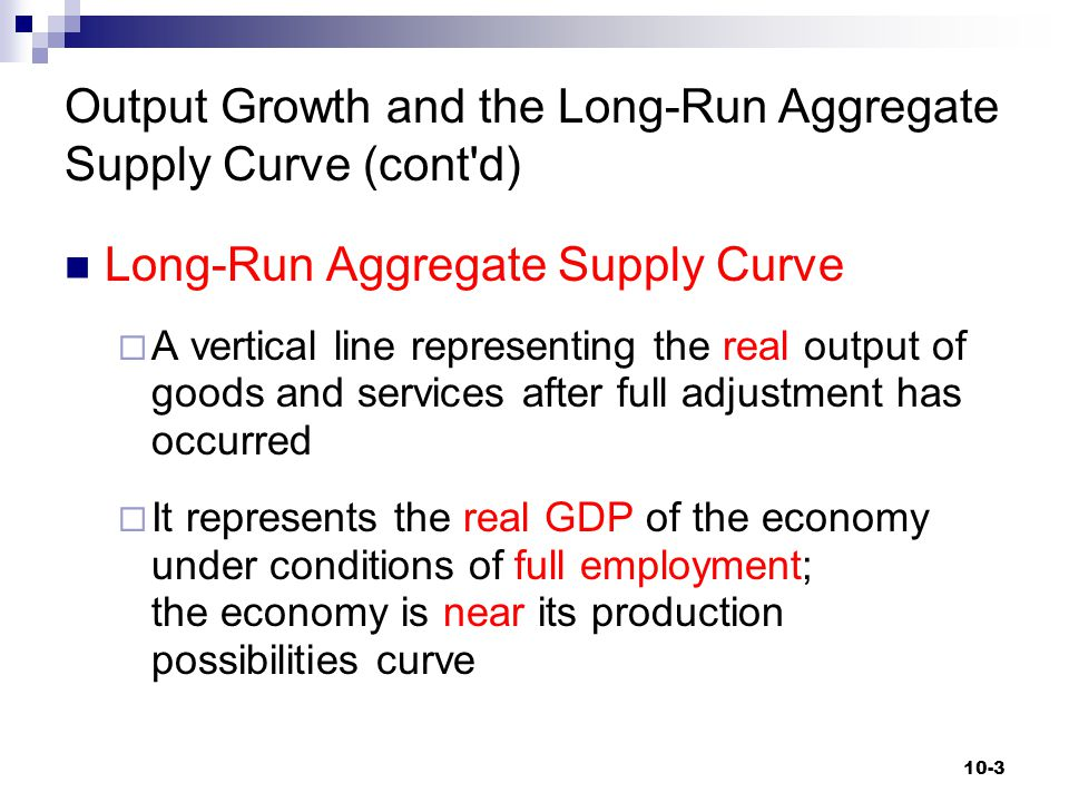 Output Growth and the Long-Run Aggregate Supply Curve (cont d)