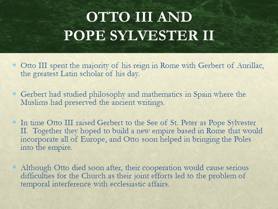 OTTO III AND POPE SYLVESTER II