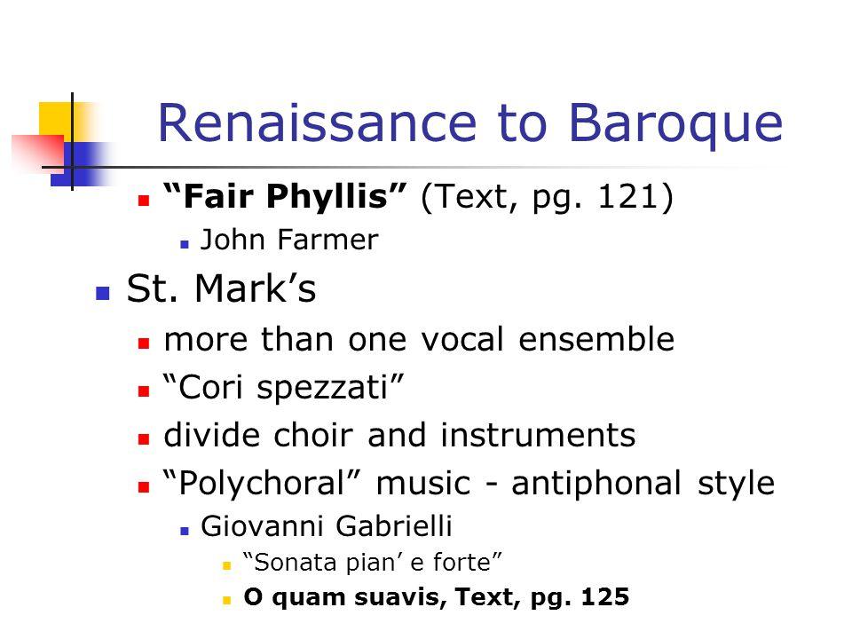 Renaissance to Baroque