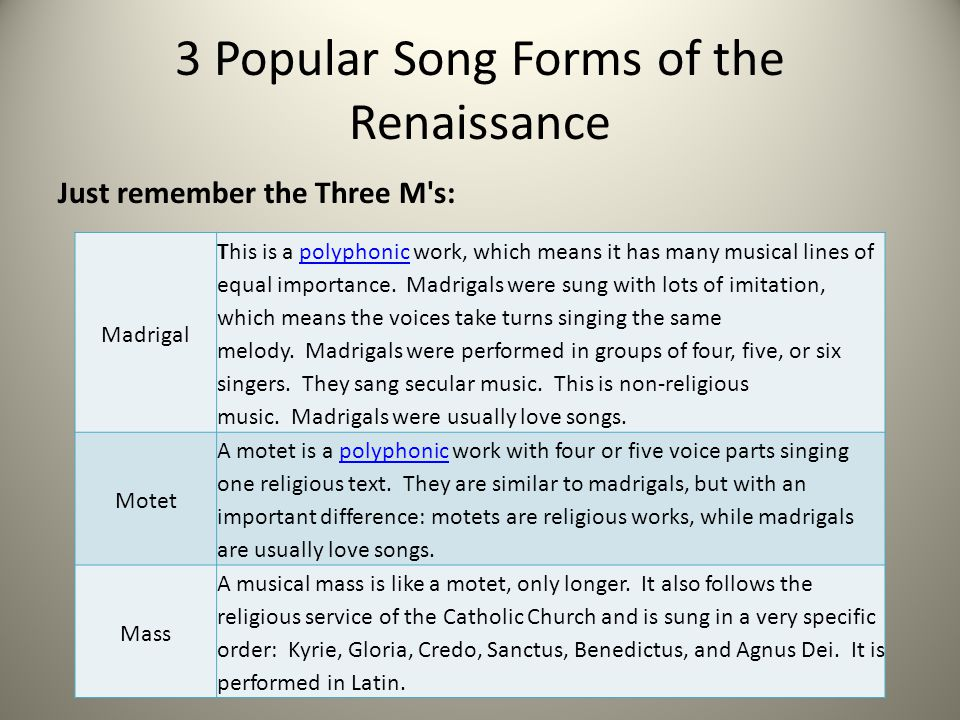 3 Popular Song Forms of the Renaissance