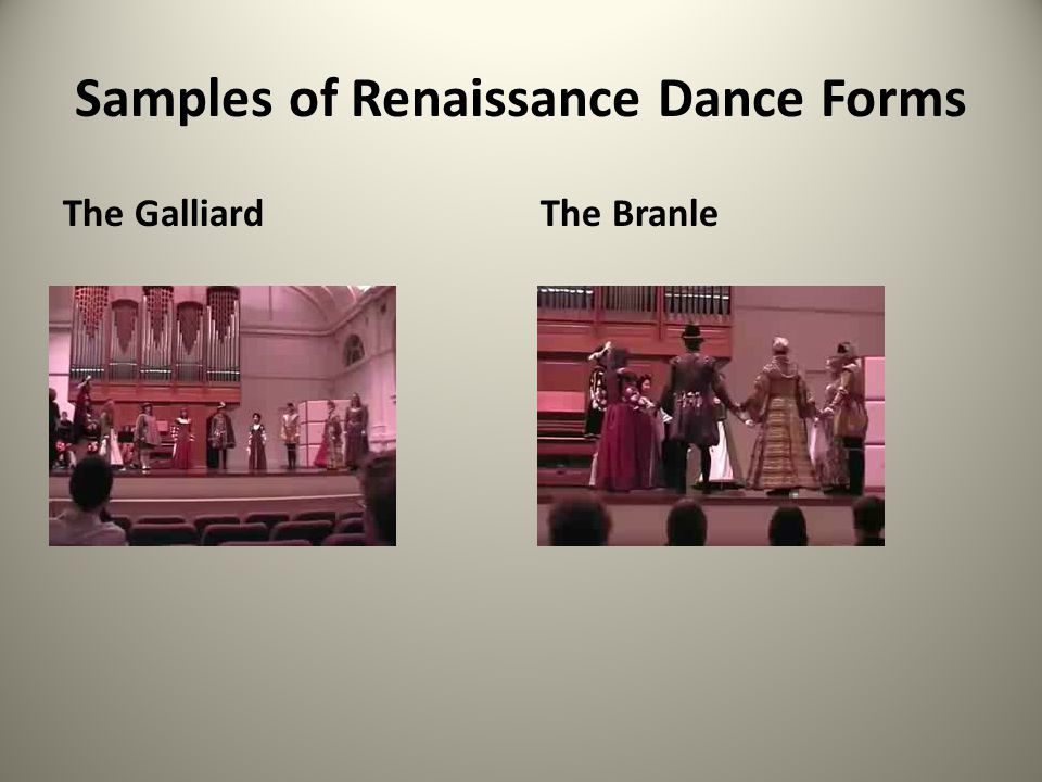 Samples of Renaissance Dance Forms
