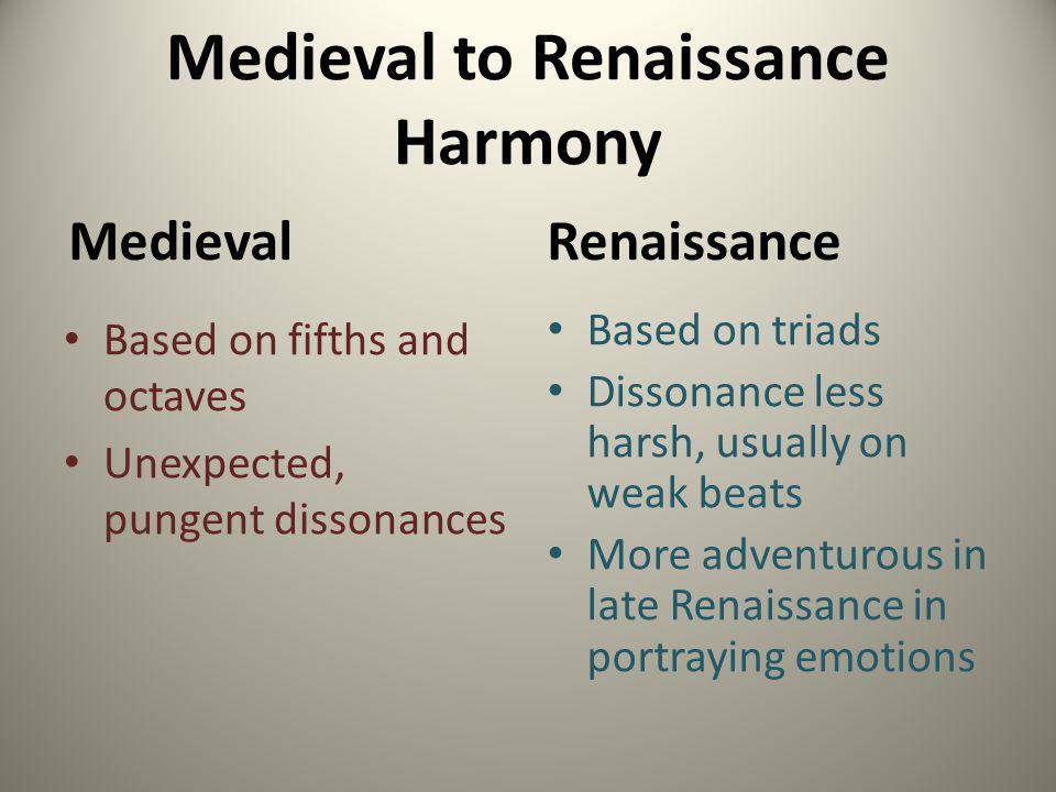 Medieval to Renaissance Harmony