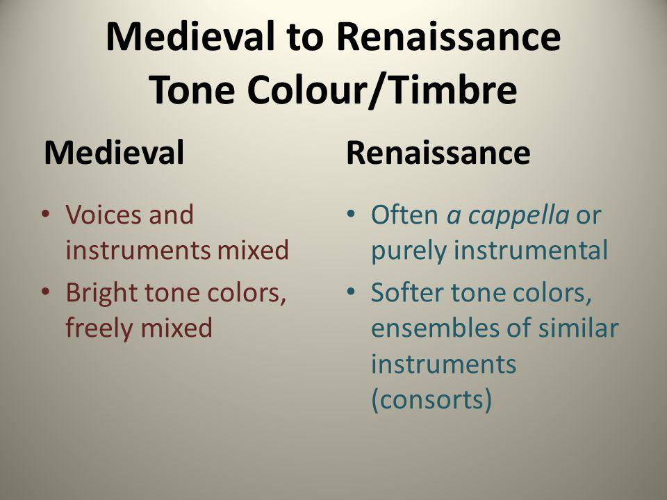 Medieval to Renaissance Tone Colour/Timbre
