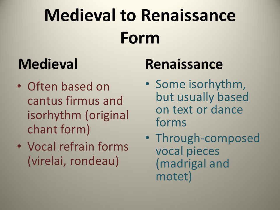Medieval to Renaissance Form