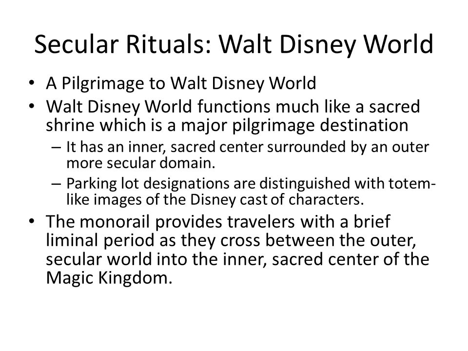 Secular Rituals: Walt Disney World