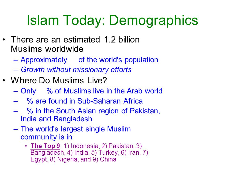 Islam Today: Demographics
