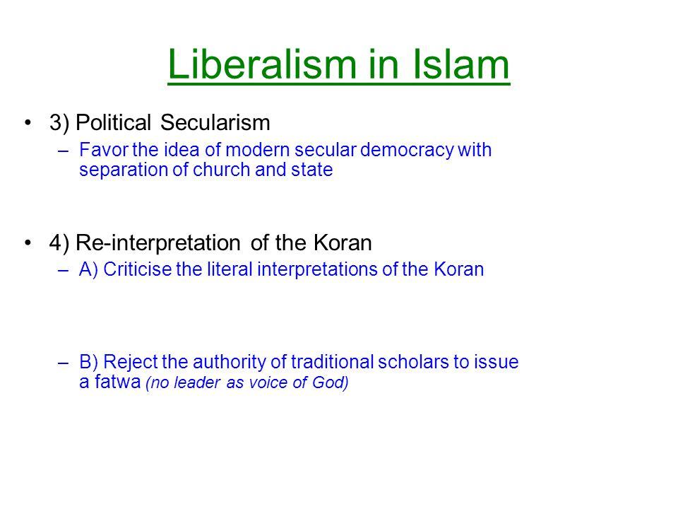 Liberalism in Islam 3) Political Secularism