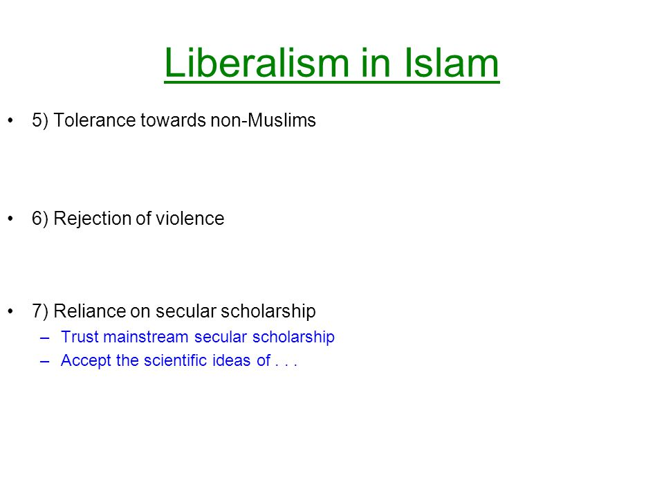 Liberalism in Islam 5) Tolerance towards non-Muslims