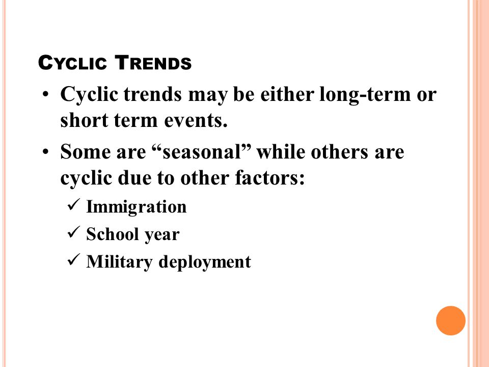 Cyclic trends may be either long-term or short term events.