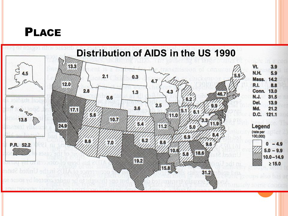 Distribution of AIDS in the US 1990