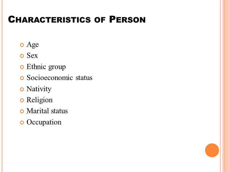Characteristics of Person