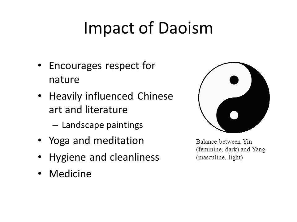 Impact of Daoism Encourages respect for nature