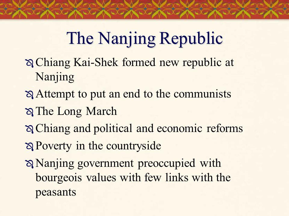 The Nanjing Republic Chiang Kai-Shek formed new republic at Nanjing