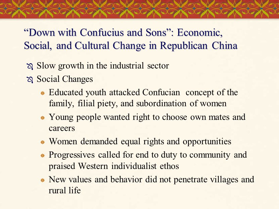 Down with Confucius and Sons : Economic, Social, and Cultural Change in Republican China