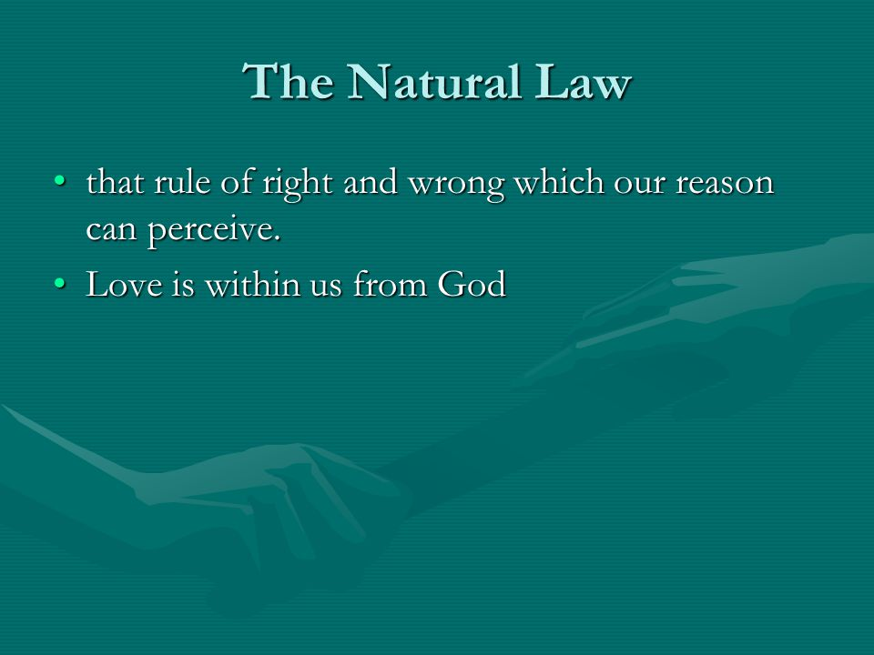 The Natural Law that rule of right and wrong which our reason can perceive.