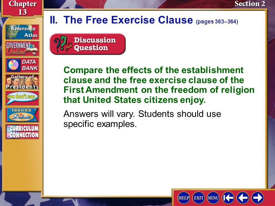 II. The Free Exercise Clause (pages 363–364)