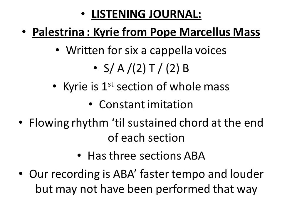 Palestrina : Kyrie from Pope Marcellus Mass