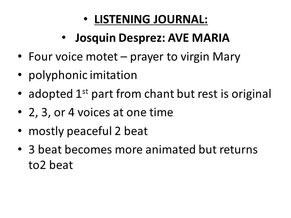 Josquin Desprez: AVE MARIA