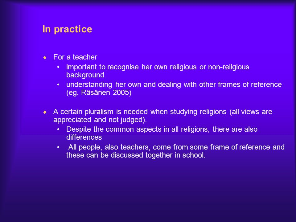 In practice For a teacher