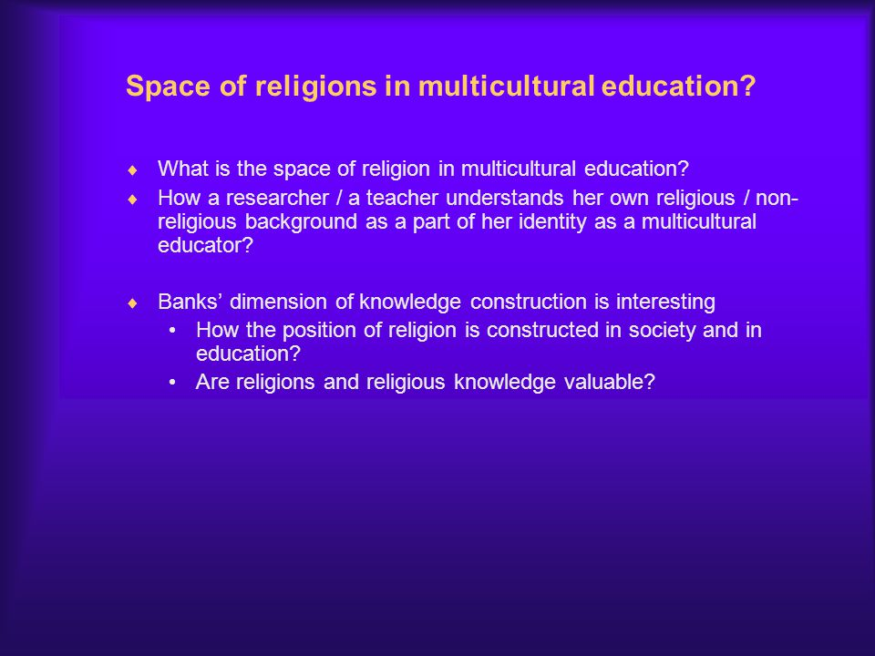 Space of religions in multicultural education