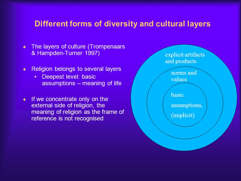 Different forms of diversity and cultural layers
