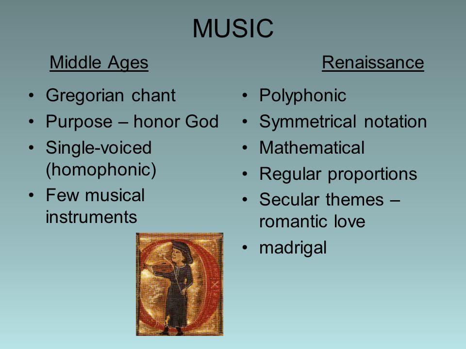 MUSIC Middle Ages Renaissance
