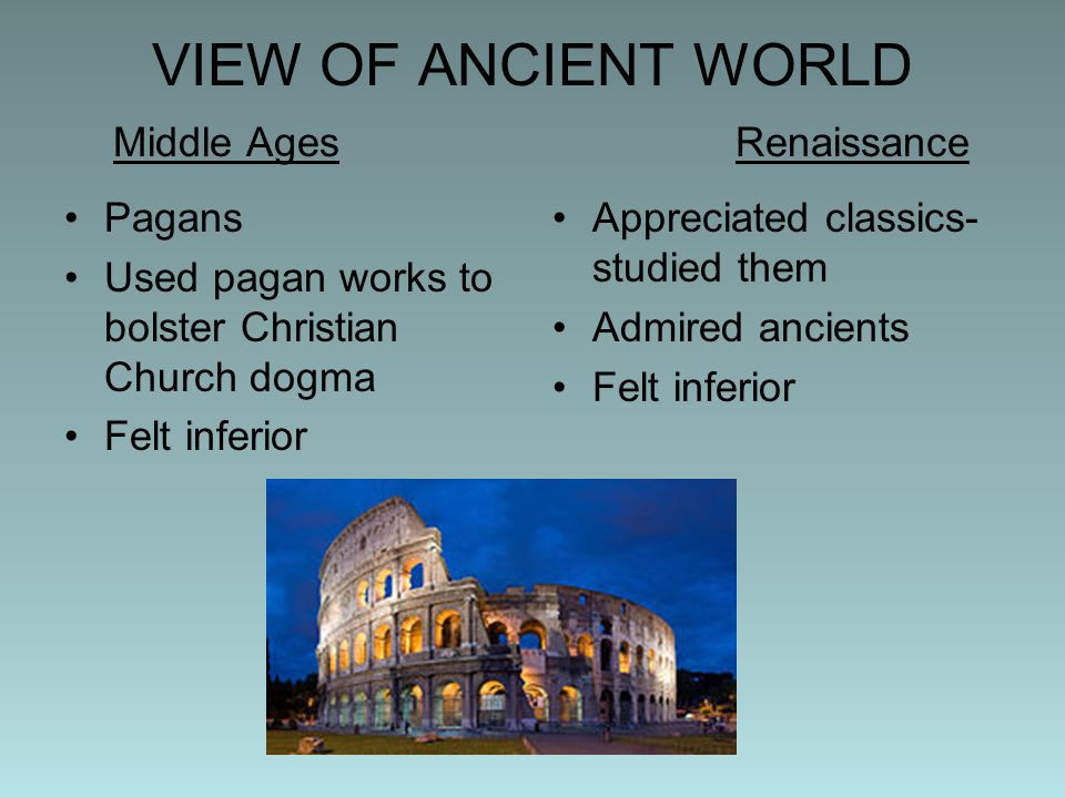 VIEW OF ANCIENT WORLD Middle Ages Renaissance
