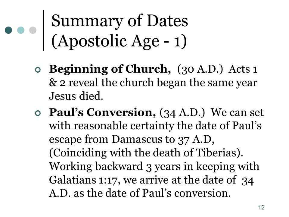 Summary of Dates (Apostolic Age - 1)