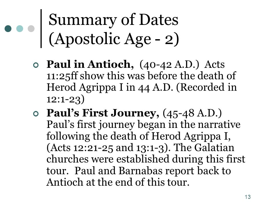 Summary of Dates (Apostolic Age - 2)