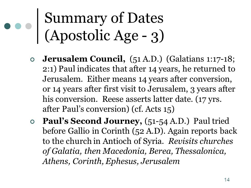 Summary of Dates (Apostolic Age - 3)