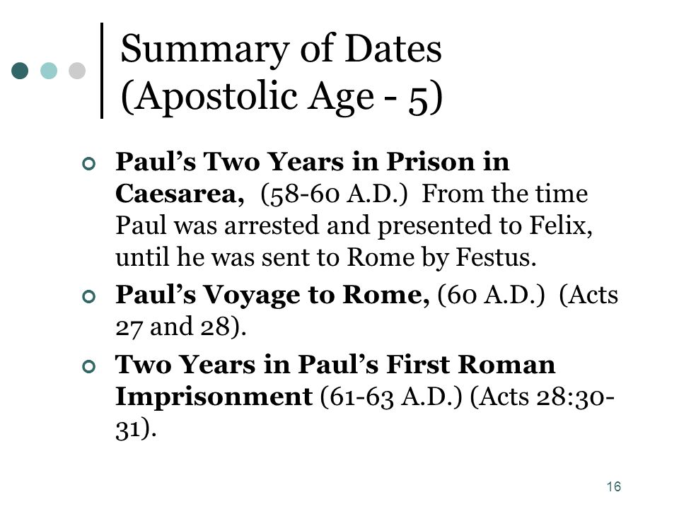 Summary of Dates (Apostolic Age - 5)