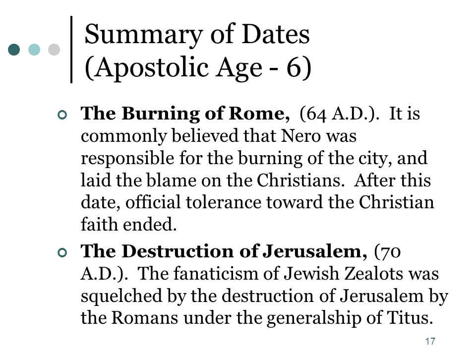 Summary of Dates (Apostolic Age - 6)