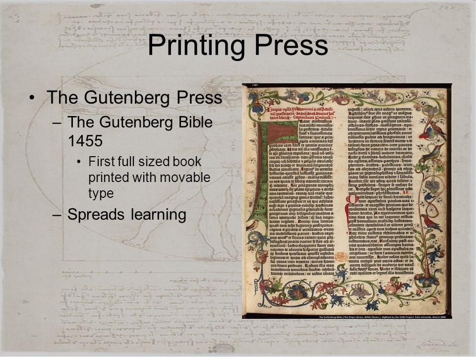 Printing Press The Gutenberg Press The Gutenberg Bible 1455