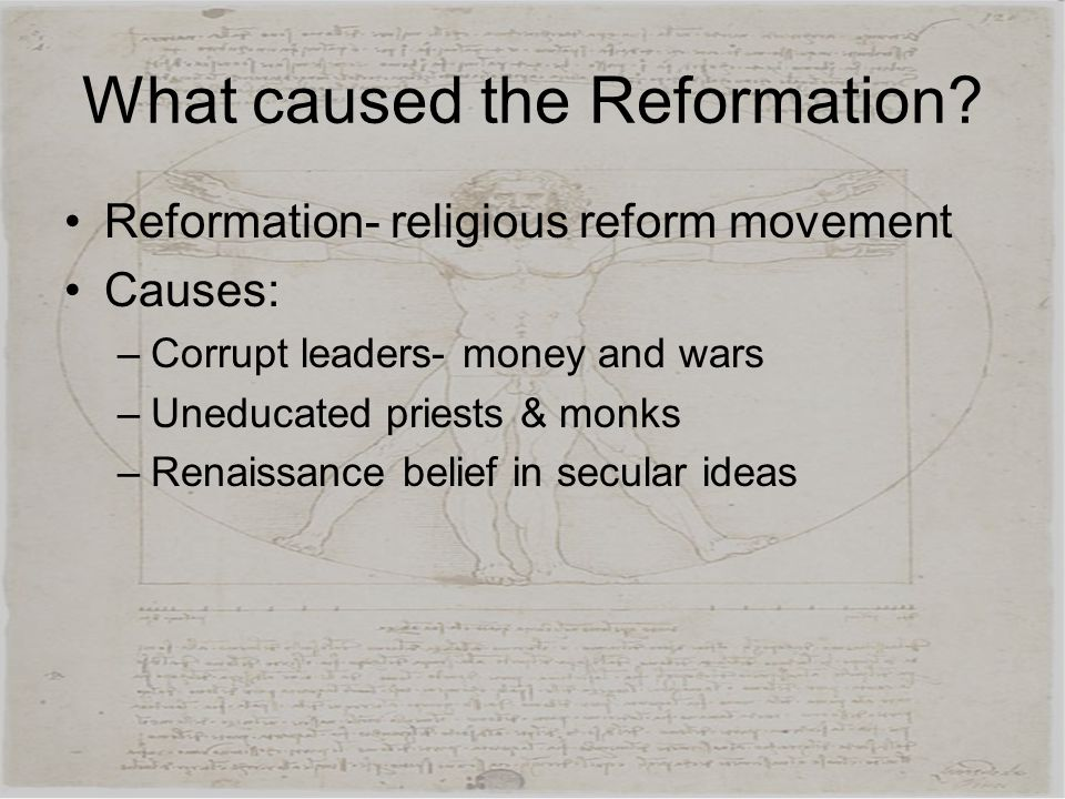What caused the Reformation