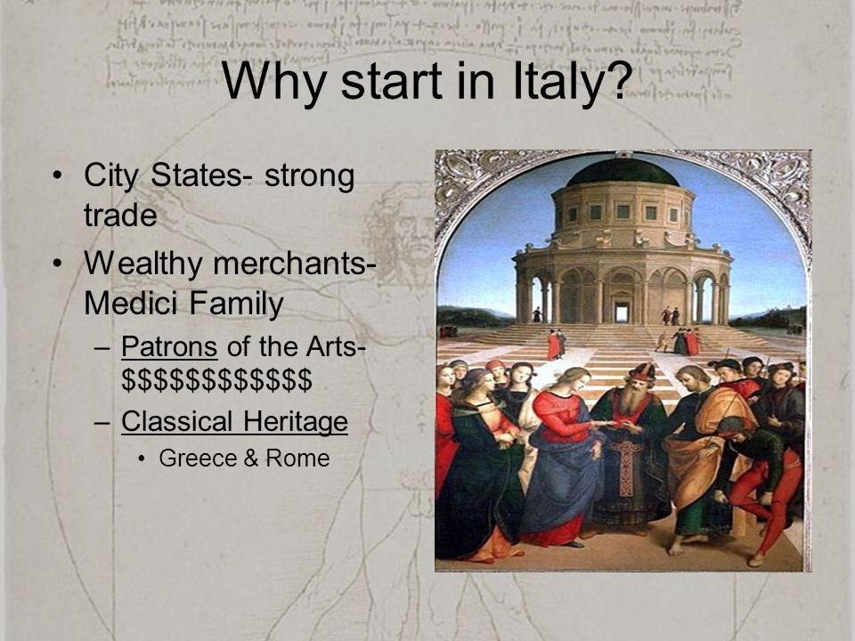 Why start in Italy City States- strong trade