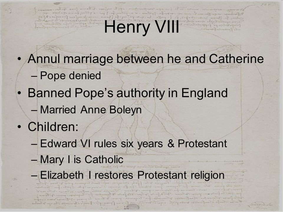 Henry VIII Annul marriage between he and Catherine