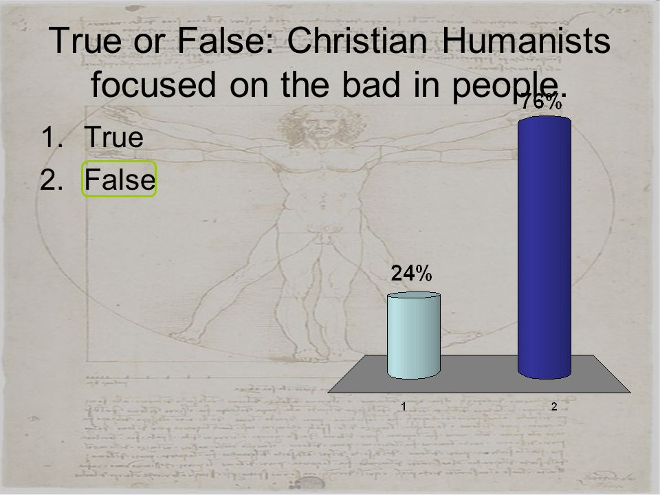 True or False: Christian Humanists focused on the bad in people.